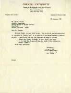 """Letter from Carl Sagan giving permission to reproduce his """"Cosmic Year""""."""