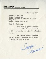 """Letter from Isaac Asimov regarding t-shirts for """"The Last Question"""" planetarium show."""