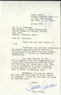 """Letter from Isaac Asimov granting permission to present the planetarium version of """"The Last Question""""."""