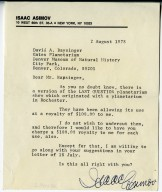 """Letter from Isaac Asimov granting permission to present the planetarium version of """"The Last Question"""" for a royalty of $100."""