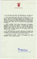 Letter from Prince Charles regarding the Mary Rose traveling exhibit.