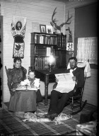 Bratley family in their library at Rosebud