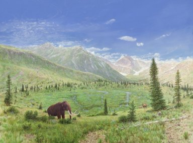 Snowmass Village paintings - 100-110,000 Years Ago, Mastodon