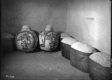 Corn meal in pottery jars and boilers