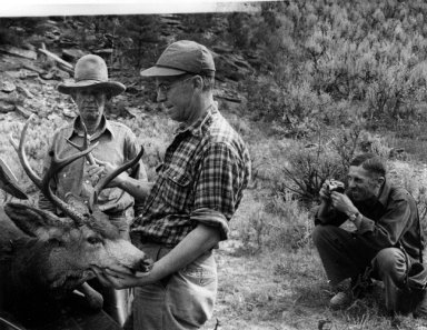 Fred W. Kent photographing Alfred M. Bailey and Frederick G. Brandenburg with deer carcass