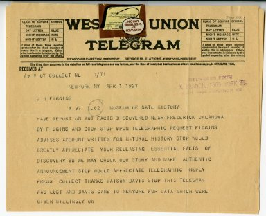 Page 1 of telegram from Barnum Brown to Jesse Figgins regarding discovery near Frederick, Oklahoma.