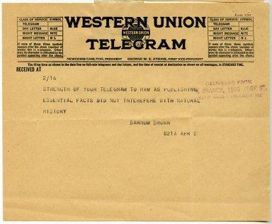 Page 2 of telegram from Barnum Brown to Jesse Figgins regarding discovery near Frederick, Oklahoma.