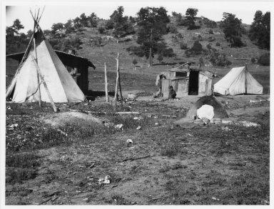 Camp scene with Pueblo oven