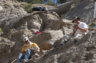 L-R: A DMNS Volunteer and Dr. Kirk Johnson, DMNS Vice President of Research and Collections and Chief Curator, chip away at rocks to unveil leaf specimens at a site on the Kaiparowits Plateau.