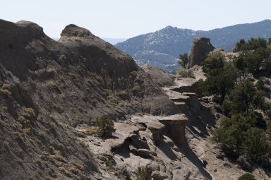 Rock shelves and hoodoos near the top of a ridgeline on the Kaiparowits Plateau.