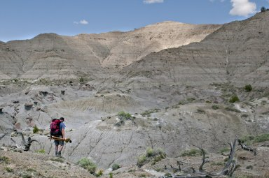 Dr. Ian Miller heads out on a prospecting trip carrying his hoe, broom, and shovel on the Kaiparowits Plateau.