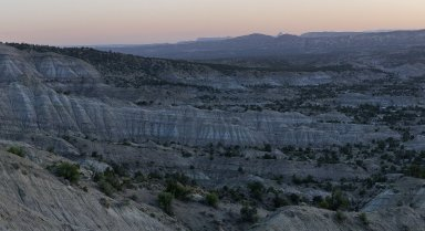 Dusk settles over the Kaiparowits Plateau.