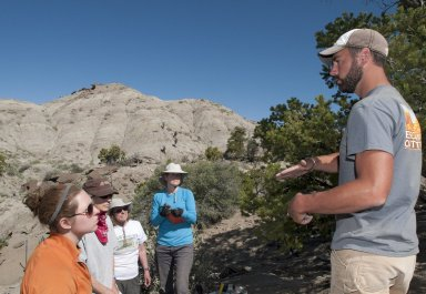 Dr. Joseph Sertich, DMNS Curator of Vertebrate Paleontology, lectures the participants in the DMNS Paleontology Field School.