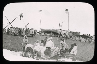 Eskimo gathering, blanket toss