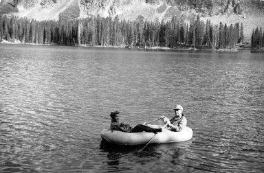 Alfred M. Bailey and daughter Pat Witherspoon in rubber boat
