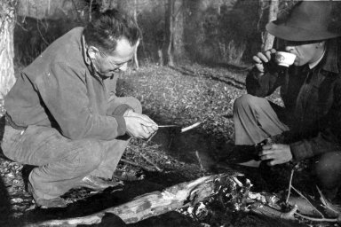 A.M. Bailey & F.G. Brandenburg at campfire