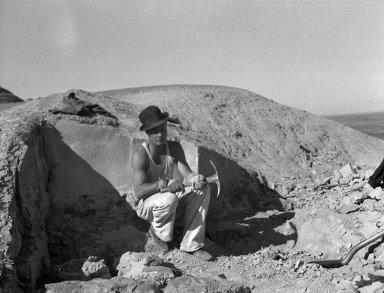 Worker at unidentified dig site