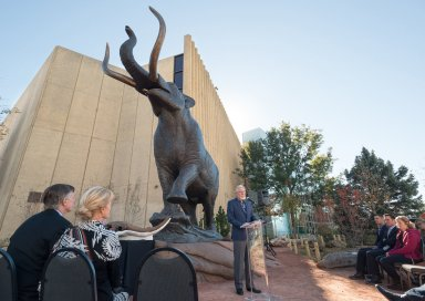 Dedication of Bronze Mastodon Sculpture