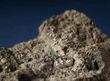 Diamond in a rock matrix