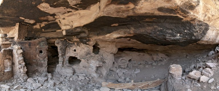 Stitched panoramic view of the Hinkle Park Cliff Dwelling.