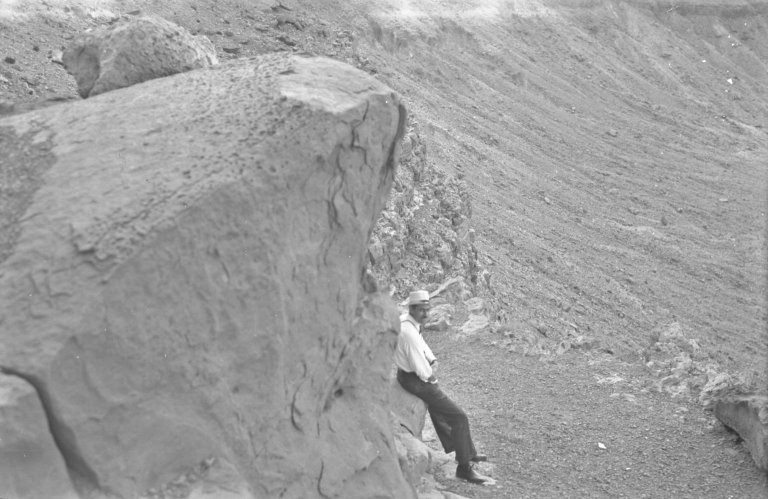 Unidentified man on crater rim
