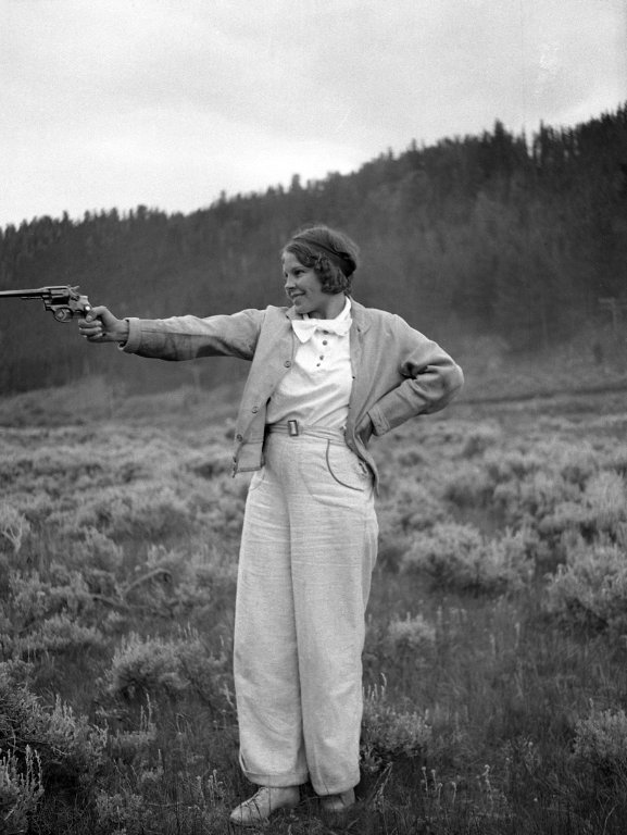 Unidentified girl shooting pistol