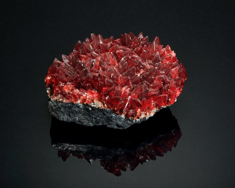 Rhodochrosite, a splendid large group of scalenohedral crystals