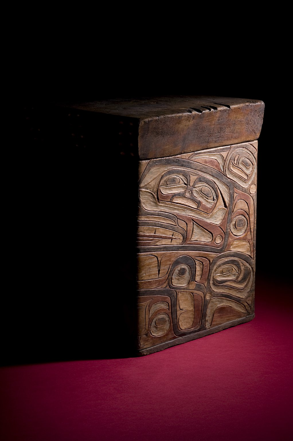 Carved and painted box