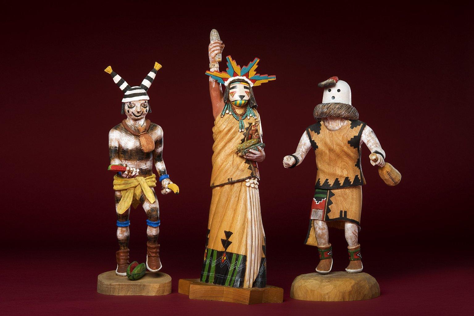 Three wood painted Kachina figures