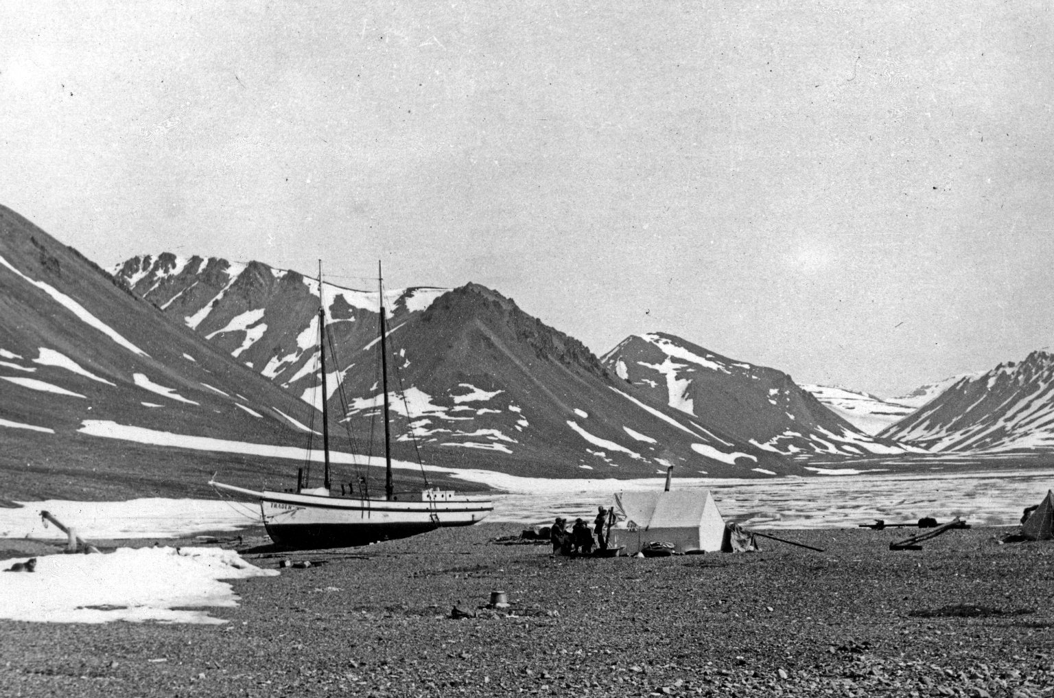 Billy Thompson's schooner and camp