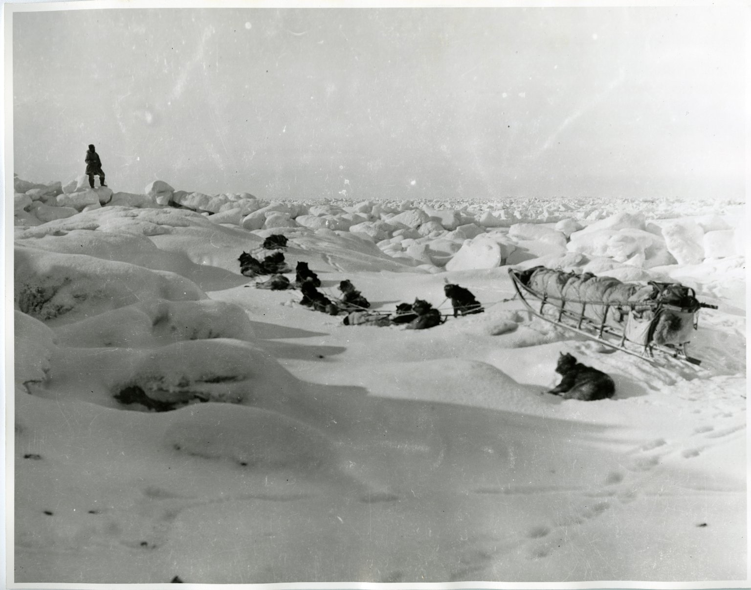 Museum sled in rough ice rounding Cape Lizbourne
