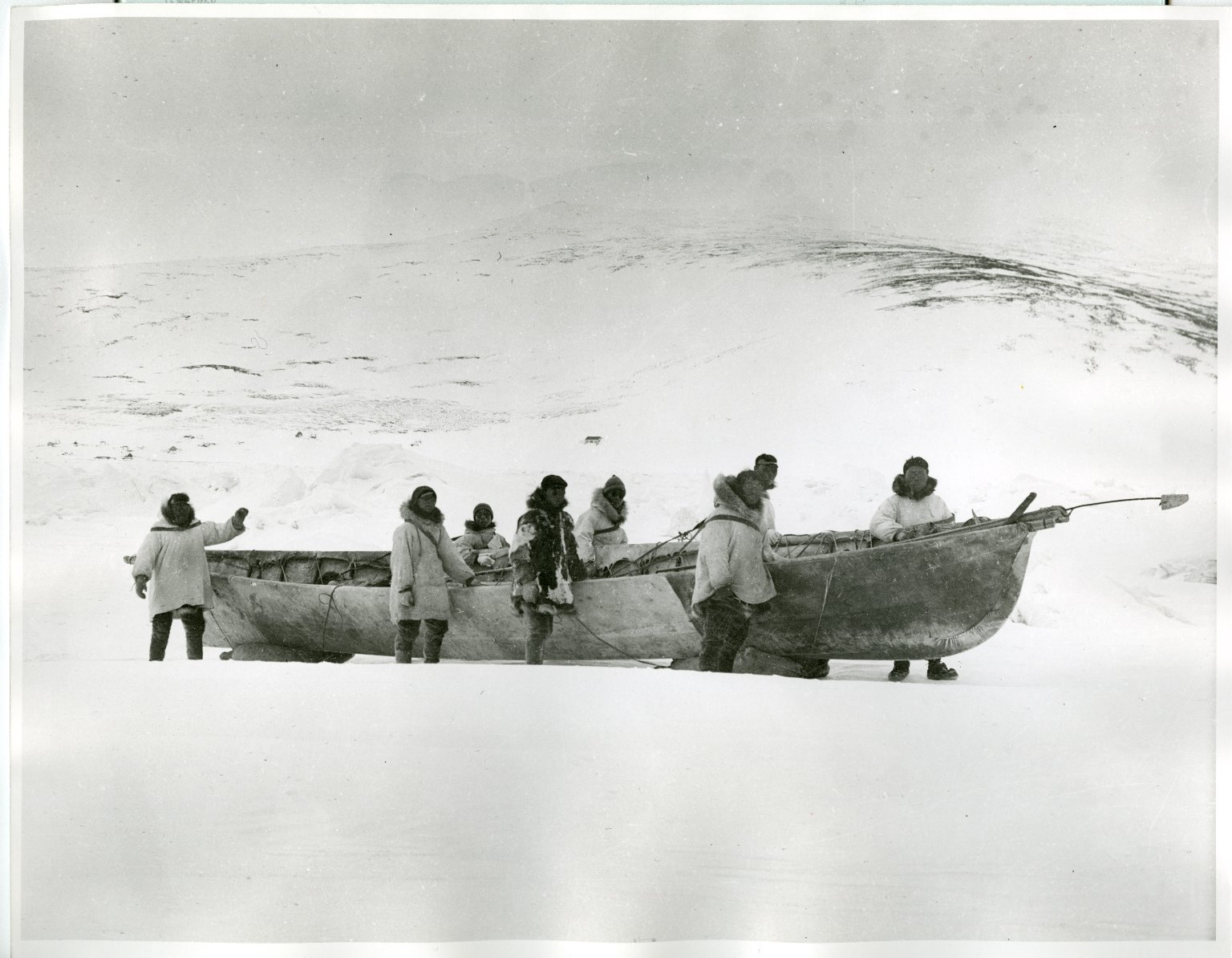Oomiak and crew on ice near Cape