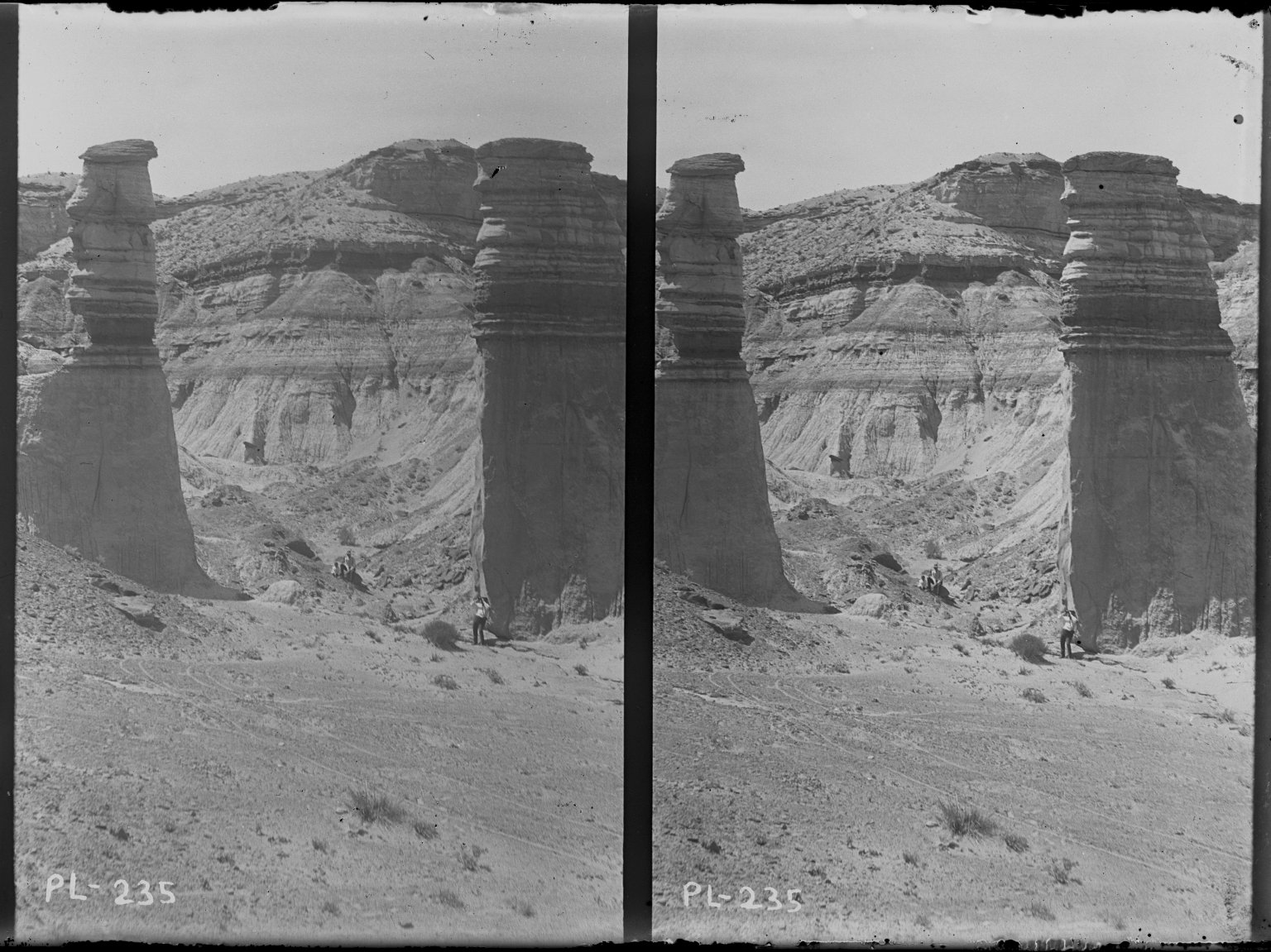Erosion left 2 pillars in Bad Lands