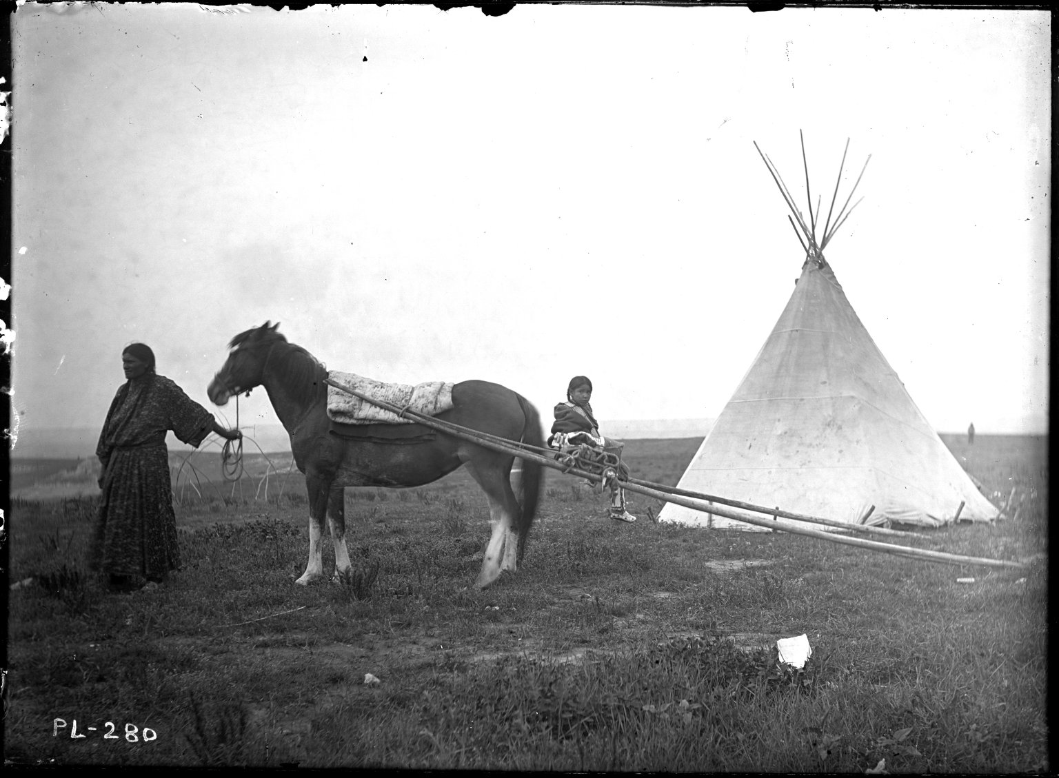 Travois and horse led by squaw
