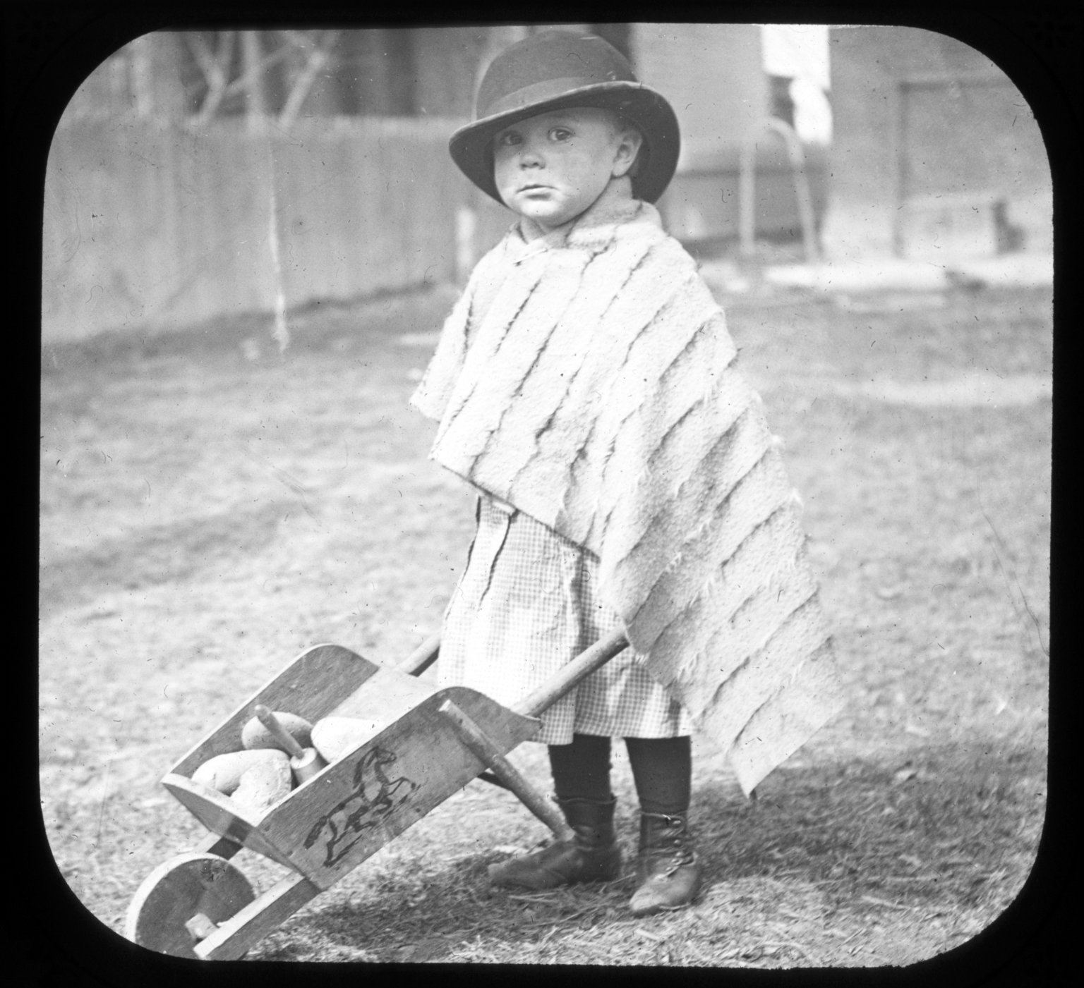 Toddler with wheel barrow