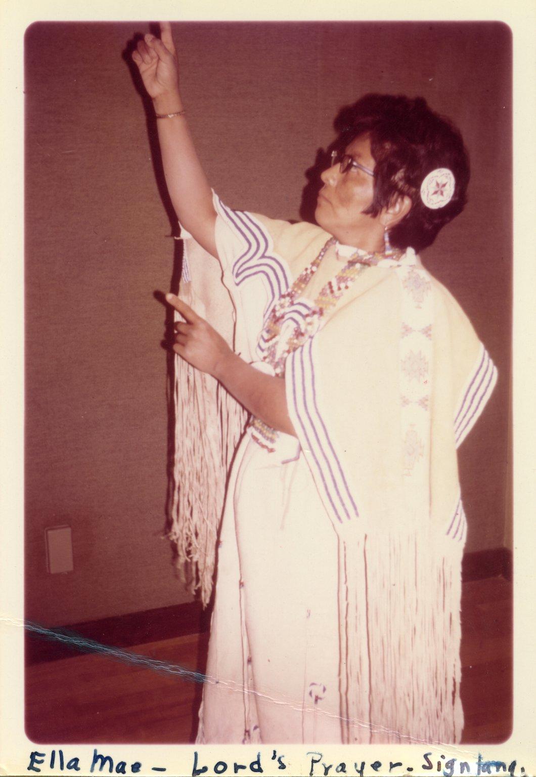 Ella Mae Vigil saying the Lord's Prayer in Plains Indian sign language