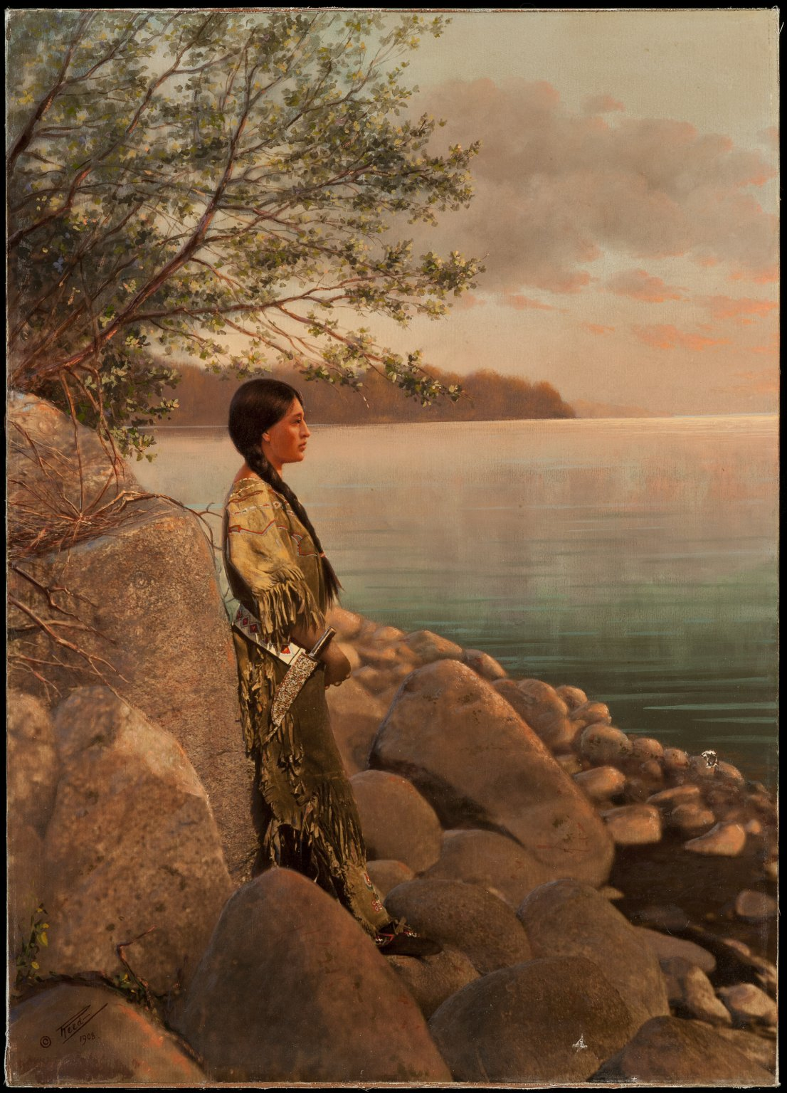 Young woman by river