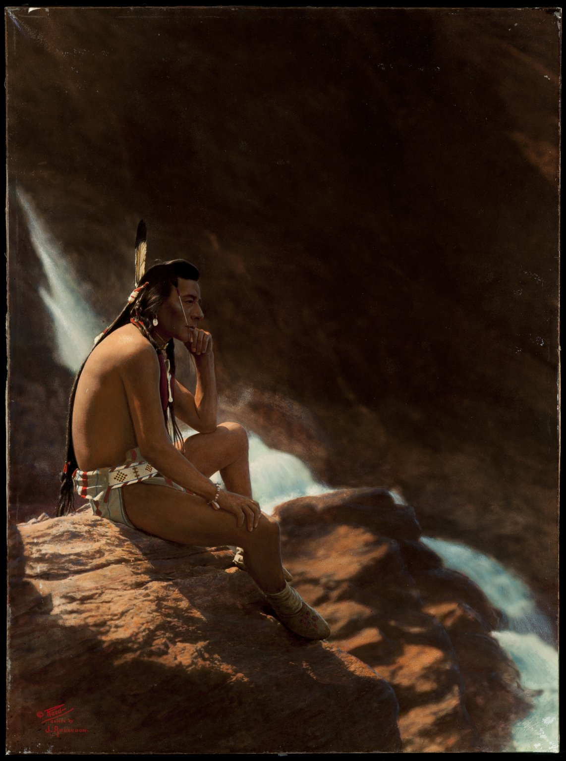 Northern Plains Indian man contemplating