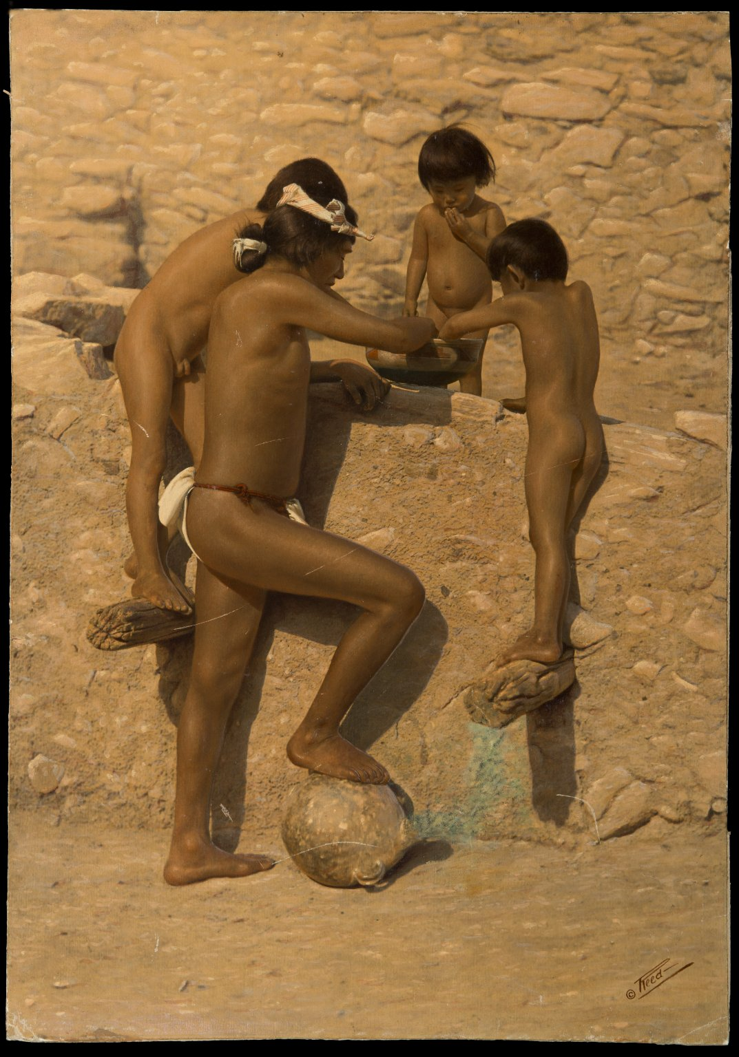 Hopi man and 3 children eating from bowl