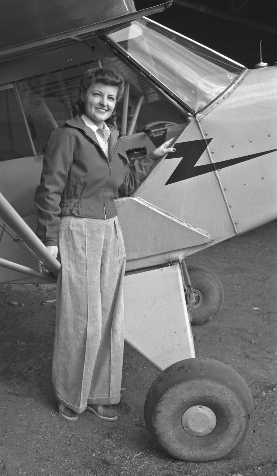 Woman with airplane