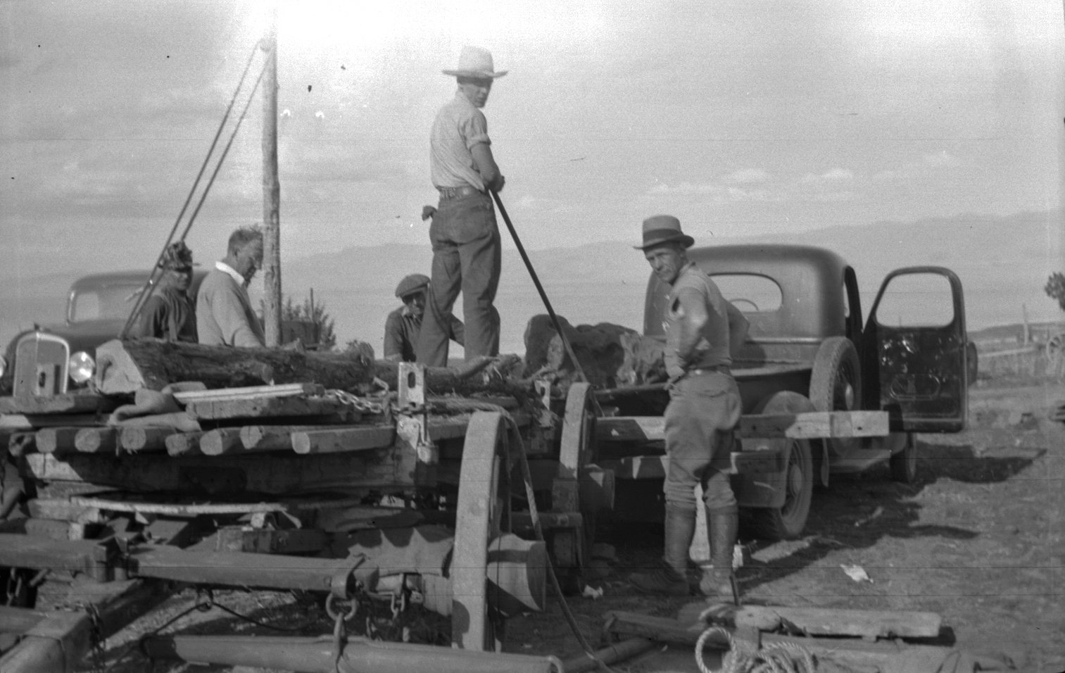 Transferring specimen from wagon to truck