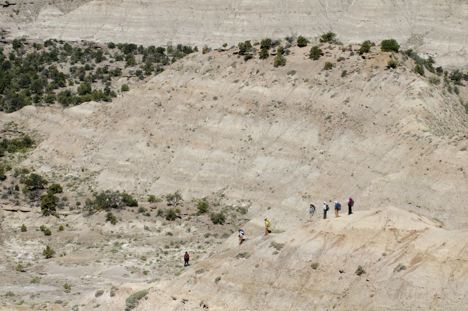 The DMNS group inches down an incline in the Kaiparowits Plateau.