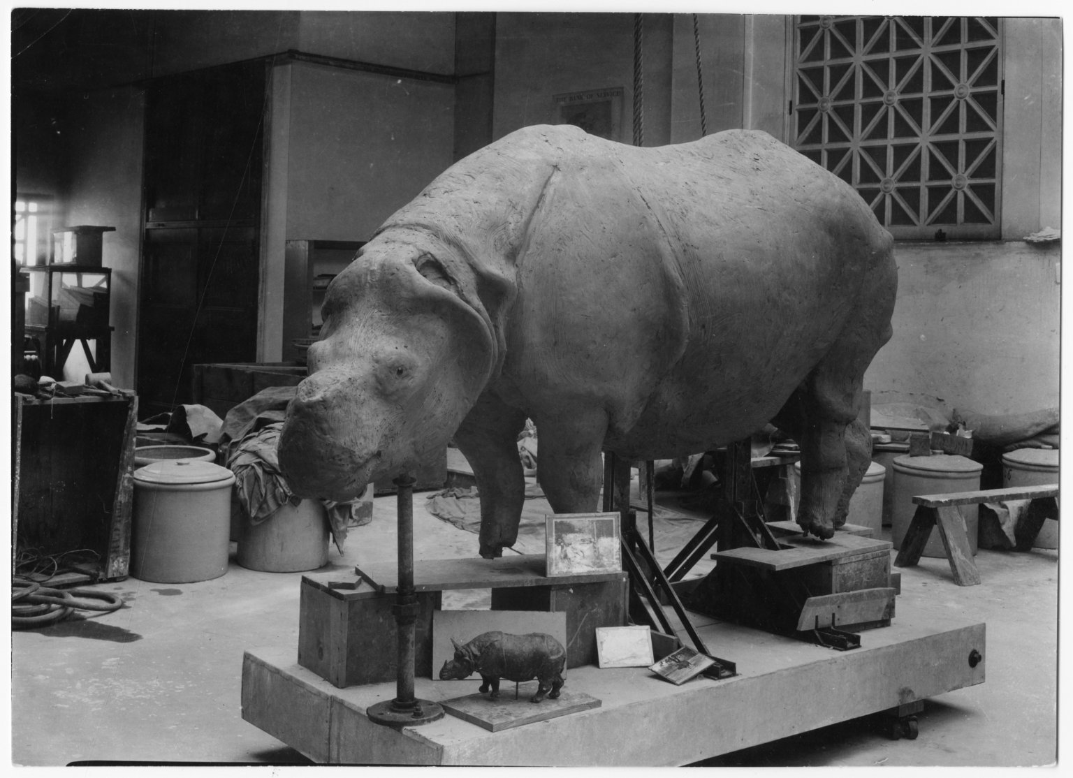 Rough clay model being prepared for exhibit at the Field Musuem
