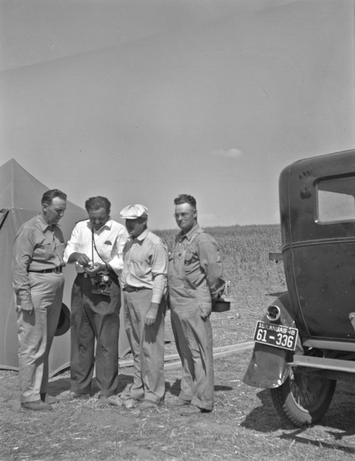 Four participants in the recovery effort for the Norton County, Kansas meteorite.
