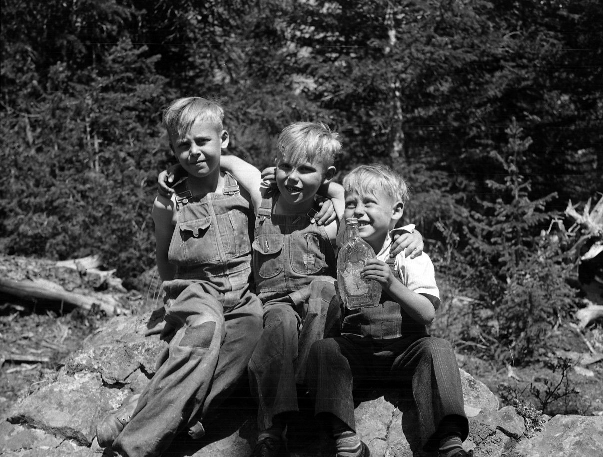 Three young boys pose in the mountains.