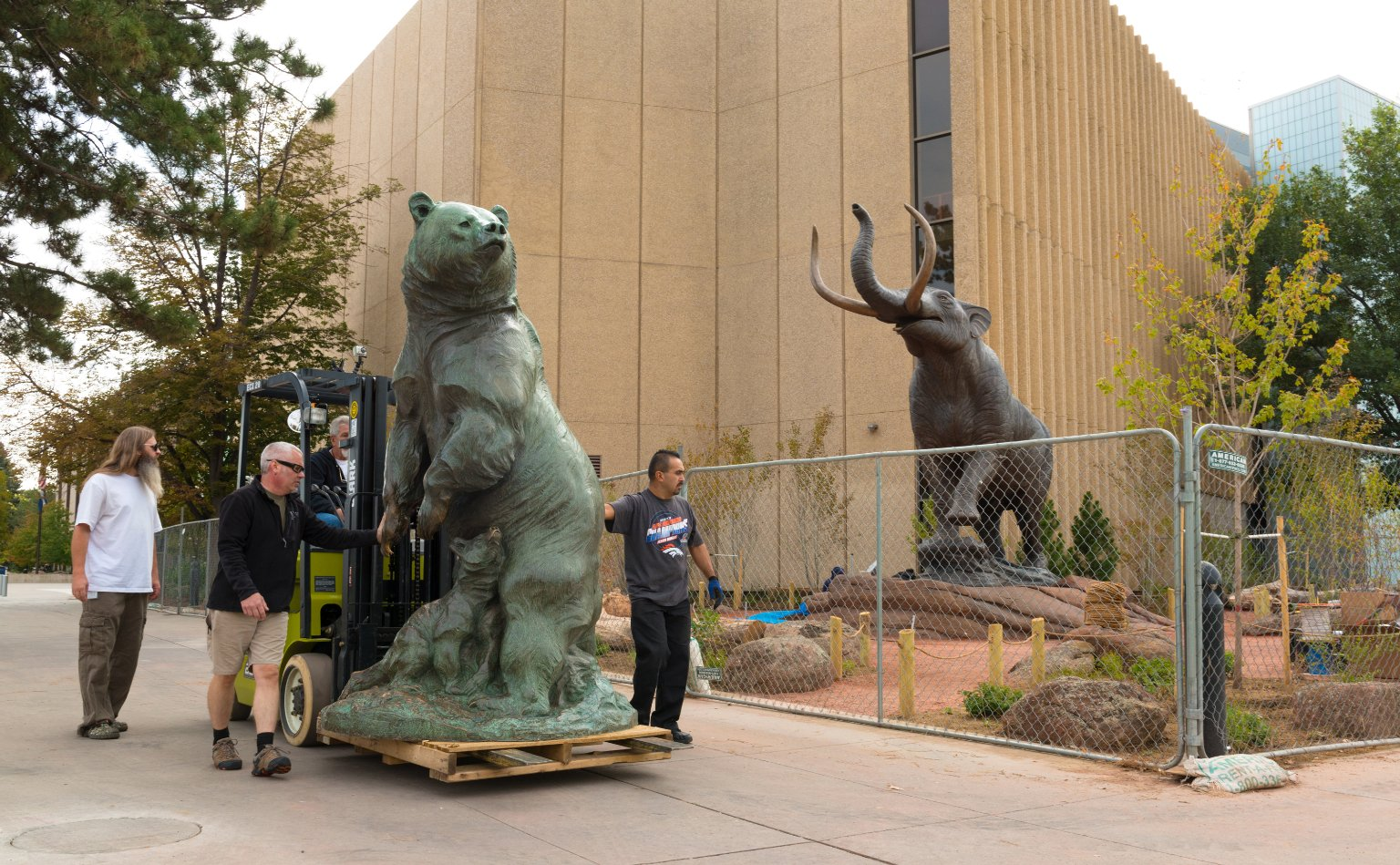 """Re-Installing Bronze Sculpture """"Grizzly's Last Stand"""" to South West Corner, Exterior"""