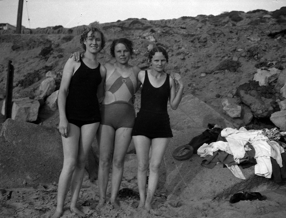 Three Young Women on the Beach