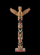 Miniature Totem Pole Carved  by Charles James, Kwaliutl