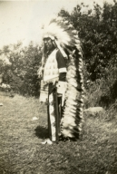 Unidentified Indian man in costume- Sioux Tribe