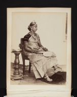 Seated woman with fan in Sri Lanka.